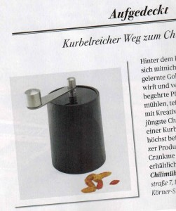 Die WauWau Chilimühle im Presse Schaufenster Oktober 2015.
