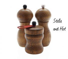 WauWau Set: chili pepper grinder, pepper grinder, salt grinder